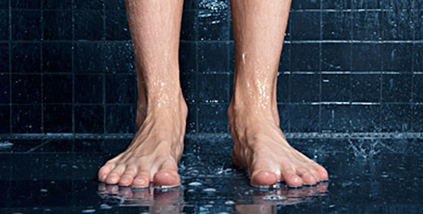 Avoid going barefoot in public showers or locker rooms.